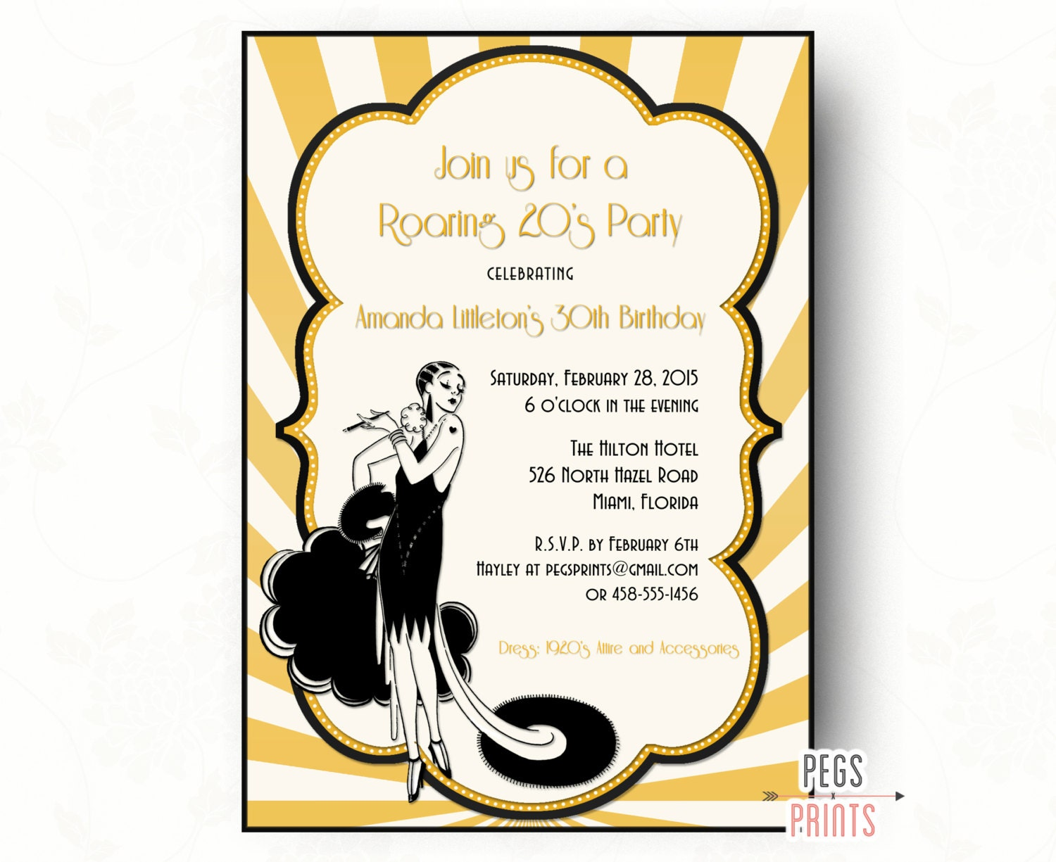 Roaring 20s Invitation PRINTABLE Great Gatsby Birthday