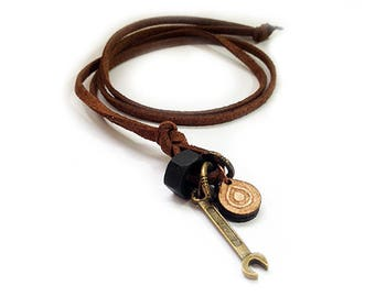 Suede leather necklace - 8702 - Mens necklace - Mens Jewelry - Adjustable