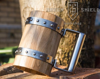 Wooden Beer Mug/ Tankard - Oak wood! Permanent Food safe Coating