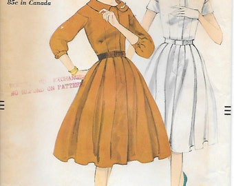 Size 18-Vogue 9739 1950s Box Pleated Skirt Dress Vintage Sewing Pattern Bust 38 Three Quarter Sleeve
