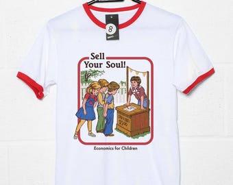 Sell Your Soul: Economics for Children - Retro 70s / 80s T shirt - Steven Rhodes.