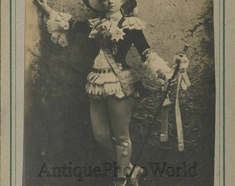 Pauline Hall theater actress singer in amazing costume antique cabinet photo