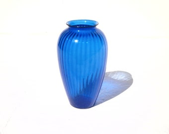 "Large Cobalt Blue Ribbed Blown Art Glass Vase 12.50"" x 7.50"""