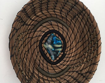 Pine Needle Basket with Glass and Beads - Item 833 by Susan Ashley