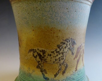 5 Appaloosa Horses  Wine Cooler / Utensil Holder Vase