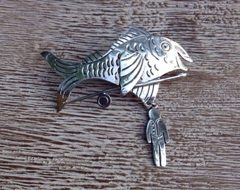 Vintage Fish Pin Silver Vintage Far Fetched