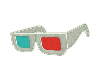 3D Glasses Iron-On Patch Magic Trick Vision Dimension 3rd Third Three 3 Horror Movie Sci-Fi Movie Madness B-Movie B Movie 50s 1950s Monster