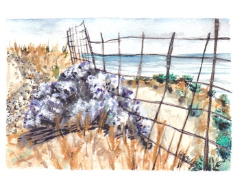 Rustic Farm Fence / Greek Road Overlook / Wild Life / Ikaria, Greece Watercolor Print / Greeting Card