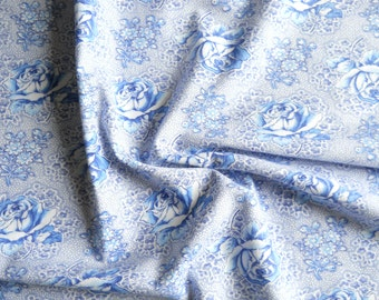 1930's cotton fabric blue roses fabric french fabric vintage cotton fabric floral fabric quilting fabric 133