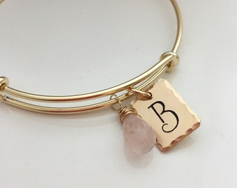 Gold Initial Bracelet -Bridesmaid Gift - Gold Filled Jewelry - Rose Quartz bangle bracelet - pink bridesmaid jewelry - bridal party gifts