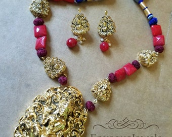 Temple Jewelry, Goddess Laxmi pendant, Laxmi necklace set, Indian wedding jewelry, South Indian jewelry, Laxmi ji jewelry, Free shipping usa