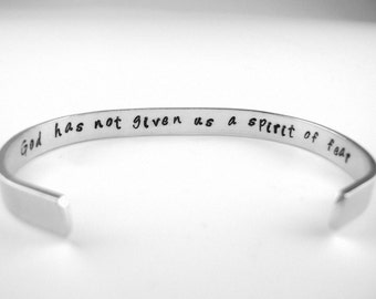 God has not given us a Spirit of Fear 2 Timothy 1:7  Hidden Message Hammered aluminum bracelet, Secret quote Scripture Cuff