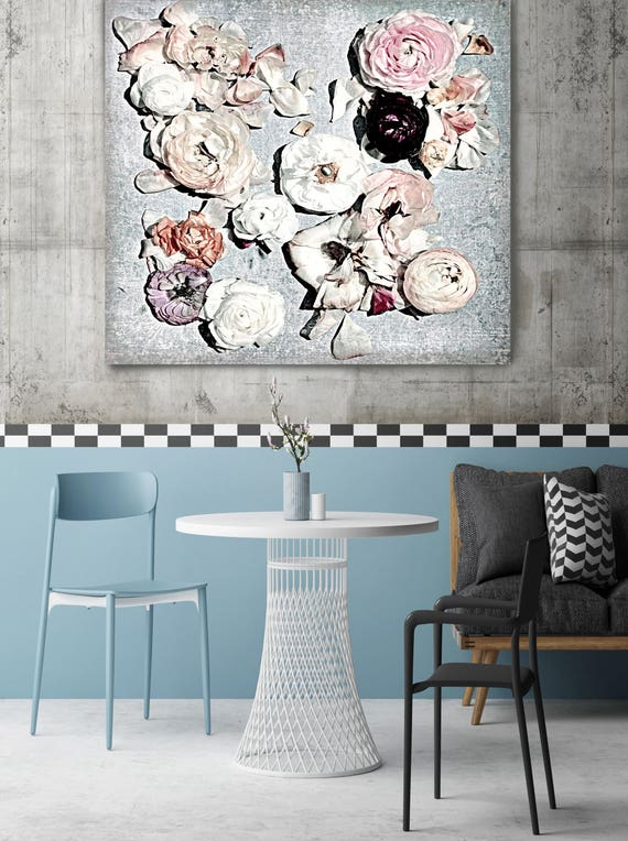 "Shabby Chic Flowers 5. Rustic Floral Painting, Pink Blue White White Rustic Large Floral Canvas Art Print up to 48"" by Irena Orlov"