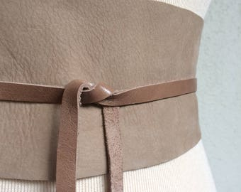 Handmade Sand Beige Italian Real Leather Obi Belt with Butterflies - One of a Kind