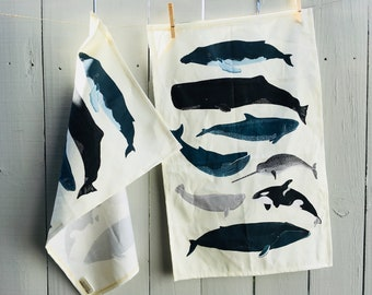 Whales Tea Towel, Hostess Gifts, Handmade Linen Tea Towel, Marine Life