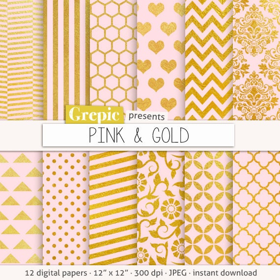 Pink And Gold Digital Paper PINK GOLD