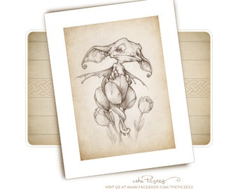 A limited edition ART PRINT (giclée) of a Still life with a dragon pup...