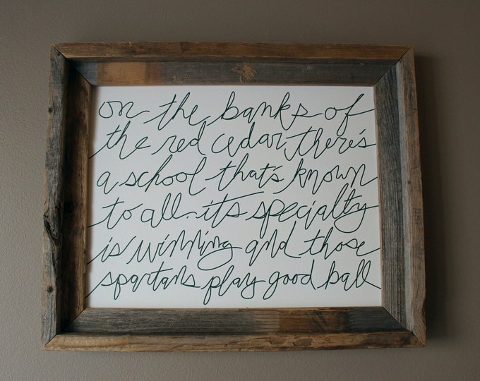 The Banks of the Red Cedar - Michigan State Fight Song - Word Art (Green Writing) - Unframed
