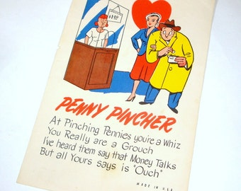 Vintage Comical Valentine, Kitschy, Tablet Valentine, Humor, Penny Pincher, Red Heart, Comic, Funny (1030-12)