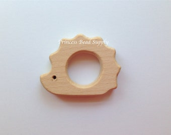 Hedgehog Natural Wood Teether, Natural Wooden hedgehog Teether,  Natural Unfinished Wood Teether, Natural Wooden Beads