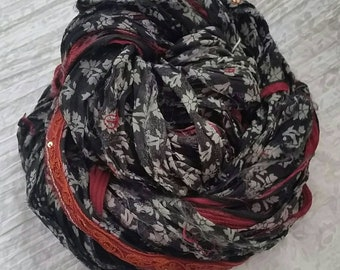 Silk Sari Ribbon Yarn, Unique Chiffon Skein, Black with Grey, Red & Orange Patterns 100g approx, length 35yds/32metres, width 1.5in/40mm avg