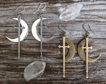 Rhiannon - Sword - Moon -Earrings -  Silver - Goth - Jewelry - Witchy - Goddess - Gothic - Bronze - Dramatic - Long - Jewelry - Crescent