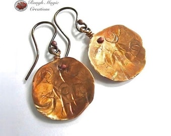 Colorful Patina Copper Earrings, Rustic Primitive Dangles, Hammered Discs, Artisan Jewelry, Gypsy Style Earrings, Boho Gift for Woman E217