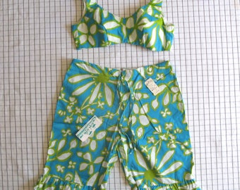 60s bikini set - vintage NWT High Tide Swimwear California shorts playsuit romper bathing suit floral tiki hawaiian high waisted retro blue