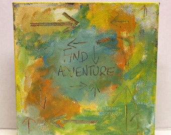 Find Adventure, Abstract Painting, Travel, Adventure, Explore, Wander, Square, Winjimir, Home Decor, Wall Art, Office, Gift, Motivational,