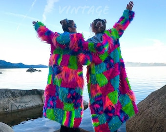 Custom Patchwork Rave Festival Reversible Trippy Lining and Patchwork Pink and Blue Faux Fur Hood Maxi Coat // FREE size