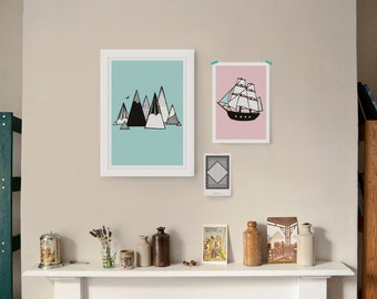 Mountains illustration art print poster in green seafoam mint