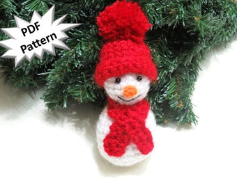 Crochet pattern amigurumi snowman pdf christmas decoration tree ornament winter decoration cute table decoration red and white.