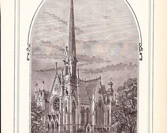 1882 Architecture Church Print - Trinity Methodist Episcopal Church Chicago Illinois - Antique Art Illustration 100 Years Old