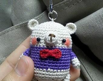 Amigurumi Mini Bear with Purple Shirt and Red Ribbon *Made2Order*