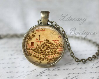 Chronicles of Narnia Map, The Western Woods, The Lion The Witch And The Wardrobe Illustration, Narnia Necklace or Keyring, Keychain.