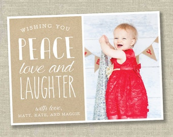 CHRISTMAS CARD, photo christmas card, christmas card with photo, holiday card, winter card, peace card, peace love laughter card