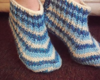 Hand knit slippers,sheep wool,mohair thick,striped bed socks,UK 4-7, USA 5-8,EU 35-40.Kozizake.