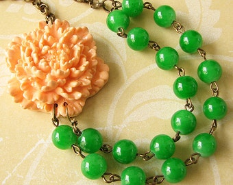 Flower Necklace Peach Jewelry Green Necklace Beaded Necklace Multi Strand Necklace Bridesmaid Gift