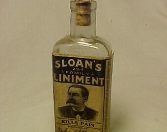 c1916 Sloan's 25c Family Liniment New York ,St. Louis , With paper label ,Labeled Medicine Bottle, Drug Store Decor ,Patent Medicine