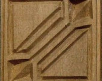 Oshiwa Carved Wood Printing Stamp, Tribal Design, 2.5''x 2.5'', Item 20-3-18