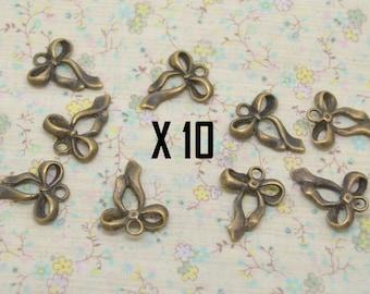 10 x 16mm bronze ribbon bow charm / 22mm