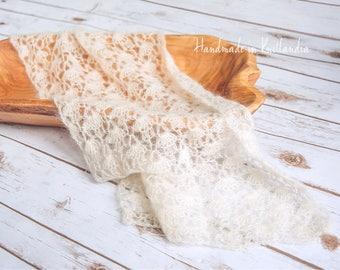 Newborn Mohair Wrap, Crochet Lace Blanket