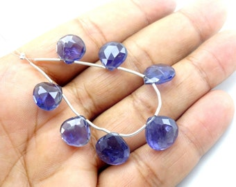 7 Pc Natural Iolite Facetesd Heart Drop Gemstone Loose Beads 11-13mm
