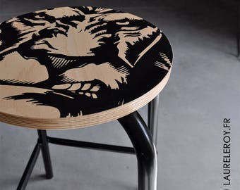 Black LION bar stool