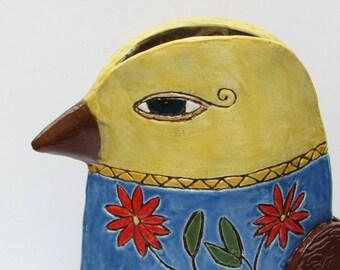 ceramic vase; ceramic bird vase; ceramic art; ceramics and pottery vase