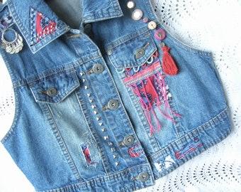 Upcycled Demin Vest**Handmade**Dutch inspired