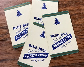 Vintage Blue Bell Potato Chip Playing Cards Set of 4 Single Cards