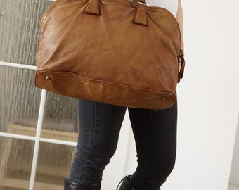 Washed Leather Tote, Washed Leather Handbag, Washed Leather Bag, Leather Bag, Leather Handbag, Leather Messenger Bag, Leather tote antic tan