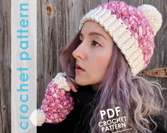 crochet pattern, crochet hat pattern, fingerless gloves pattern, crochet fingerless gloves, winter hat pattern, mothers day gift
