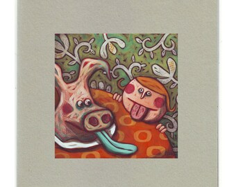 "Illustrated postcard ""pig face"""